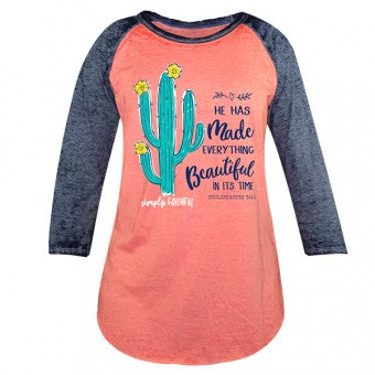 Simply Faithful By Simply Southern He Has Made Everything Beautiful Cactus Long Sleeve T-Shirt