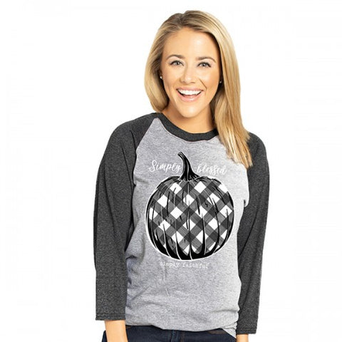 Simply Faithful By Simply Southern Blessed Plaid Pumpkin Fall Long Sleeve T-Shirt
