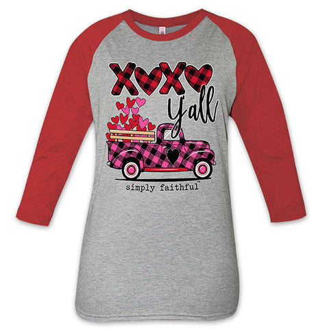SALE Simply Faithful By Simply Southern XOXO Yall Valentine's Day Truck Long Sleeve T-Shirt