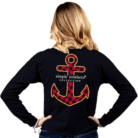 Simply Southern Preppy Plaid Anchor Shortie Long Sleeve T-Shirt