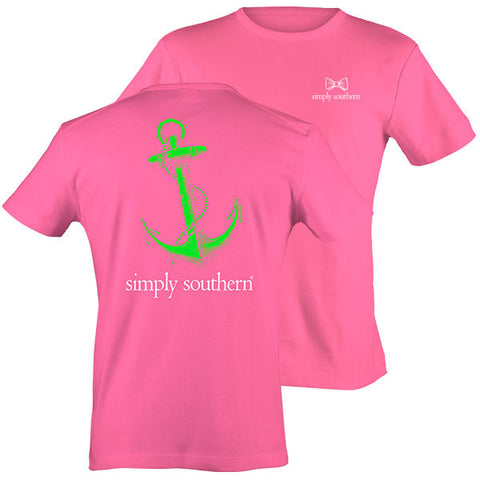 Simply Southern Classic Preppy Vintage Anchor Pink T-Shirt