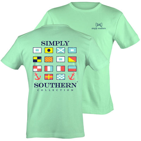 Simply Southern Classic Preppy Harbor Flags Mint T-Shirt