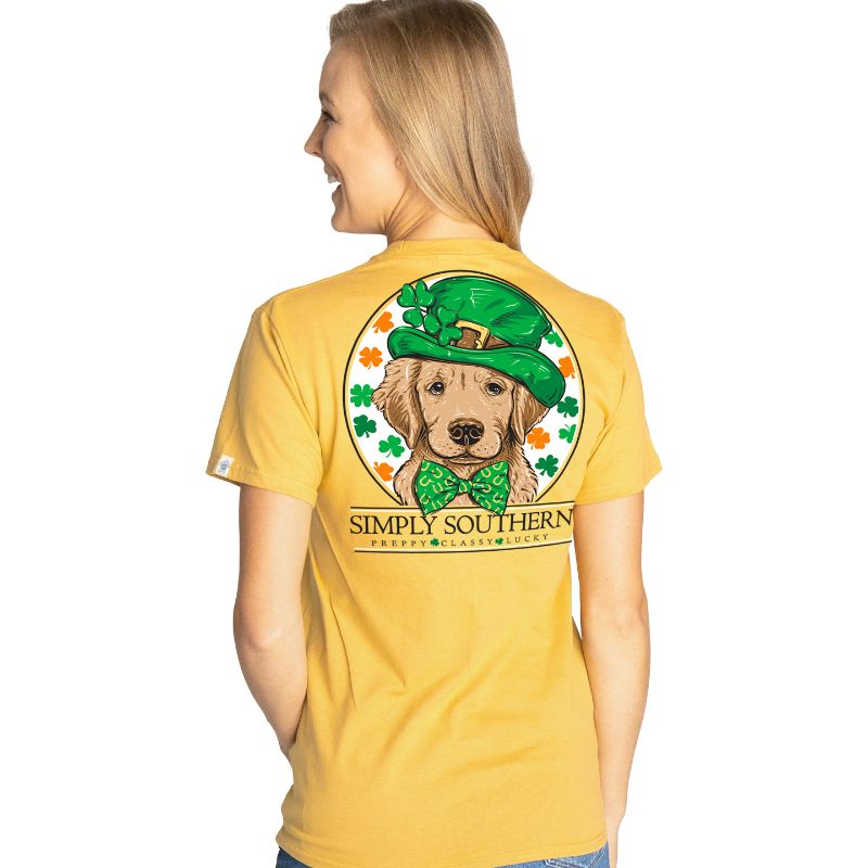 Simply Southern Lucky & Blessed Shamrock Dog Irish T-Shirt