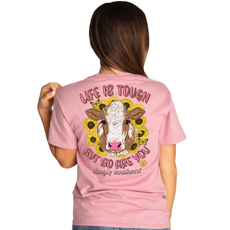 Simply Southern Preppy Life Is Tough Sunflower Cow T-Shirt