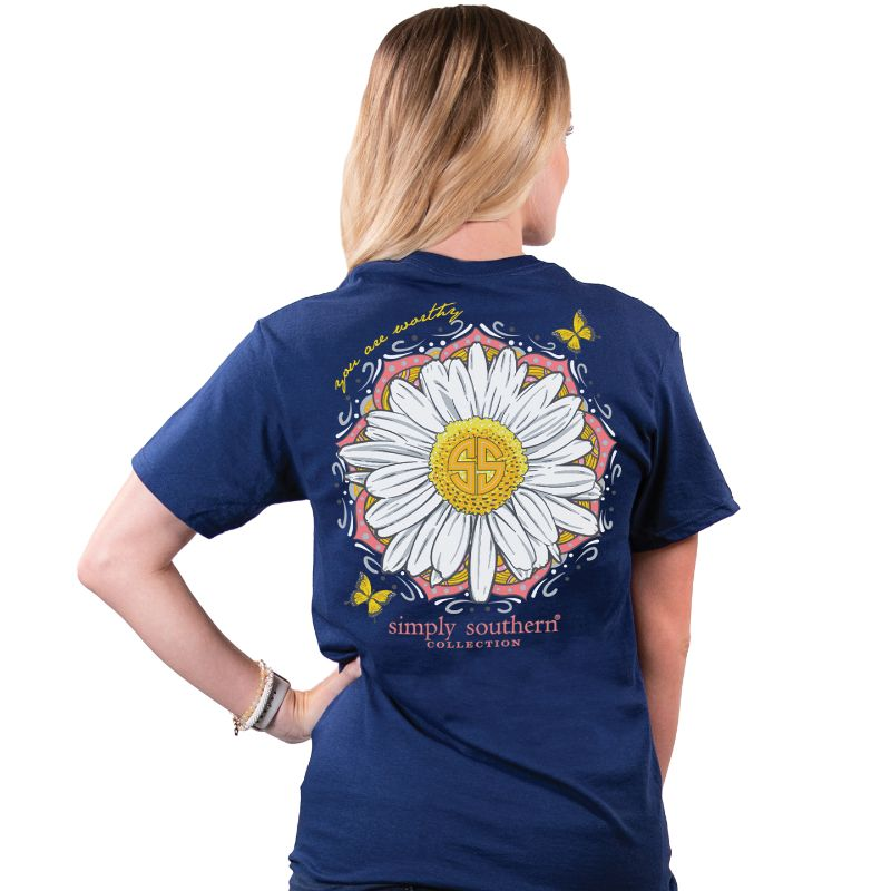 Simply Southern Preppy Worthy Butterfly Flower T-Shirt