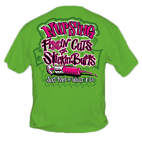Sweet Thing Funny Nurse Fixin Cuts Neon Green Girlie Bright T-Shirt