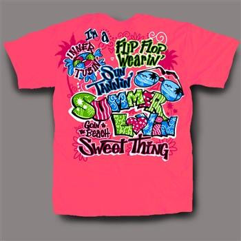 Sweet Thing Funny Summer Lovin Neon Pink Girlie Bright T-Shirt - SimplyCuteTees