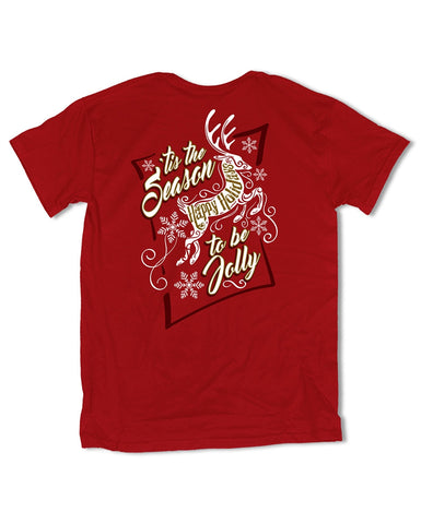 Southern Vine Tis the Season to be Jolly Happy Holidays Christmas Girlie Bright T-Shirt