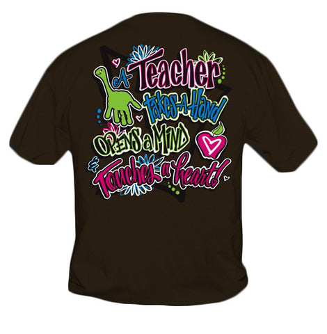 Sweet Thing Funny Teacher Take A Hand Teach Girlie Brown Bright T-Shirt - SimplyCuteTees