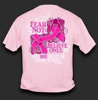 Sweet Thing Funny Fear Not Pink Ribbon Breast Cancer Awareness Girlie Bright T-Shirt - SimplyCuteTees