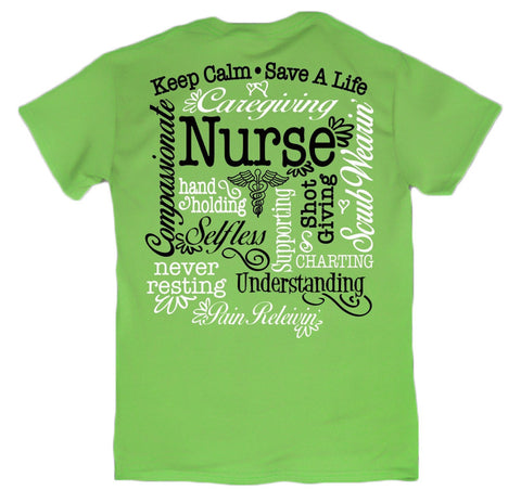 Sweet Thing Nurse Keep Calm Save a Life Selfless RN CNA LPN Lime Girlie Bright T-Shirt - SimplyCuteTees