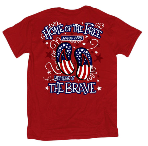 Sweet Thing Home of the Free Because of the Brave USA American Flag Flip Flops Girlie Bright T Shirt - SimplyCuteTees