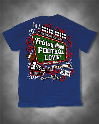 Sweet Thing Friday Night Football Lovin Cheerin Girl Blue Girlie Bright T-Shirt - SimplyCuteTees