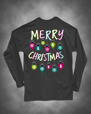 Sweet Thing Merry Christmas Xmas Ornament Girlie Long Sleeve Bright T-Shirt - SimplyCuteTees
