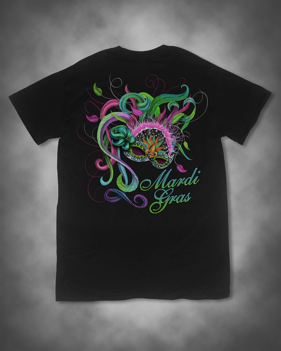 Sweet Thing Mardi Gras Feather Mask Fleur De Lis Beads Girlie Bright T-Shirt - SimplyCuteTees
