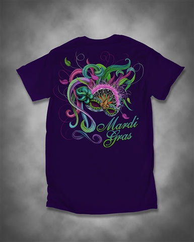 Sweet Thing Mardi Gras Feather Mask Fleur De Lis Beads Girlie Purple Bright T-Shirt