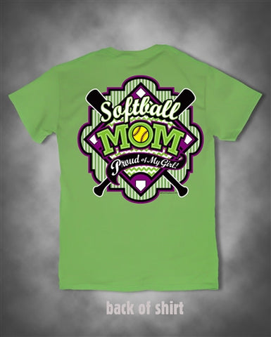 Sweet Thing Softball Mom Proud of My Girl Green Girlie Bright T Shirt