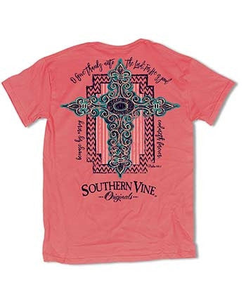 Southern Vine Originals Coral Crossfire Give Thanks Cross Christian Girlie Bright T Shirt