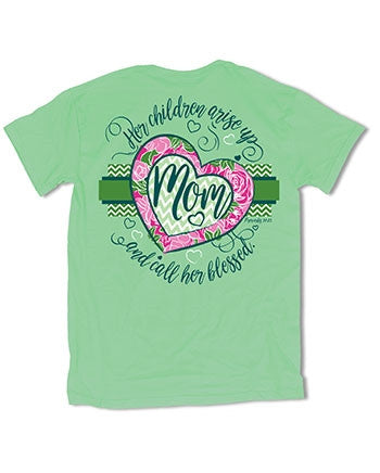Sweet Thing Blessed Mom Mother Mama Heart Mint Girlie Bright T-Shirt - SimplyCuteTees
