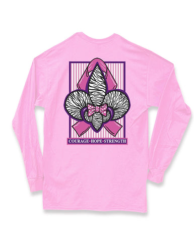 Sweet Thing Zebra Fleur De Lis Bow Ribbon Breast Cancer Long Sleeve Girlie Bright T-Shirt