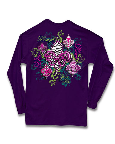 Sweet Thing Live Laugh Love Fleur De Lis Purple Girlie Long Sleeve Bright T-Shirt