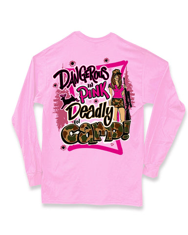 Sweet Thing Dangerous in Pink Deadly in Camo Hunt Deer Long Sleeve Bright Girlie T-Shirt - SimplyCuteTees