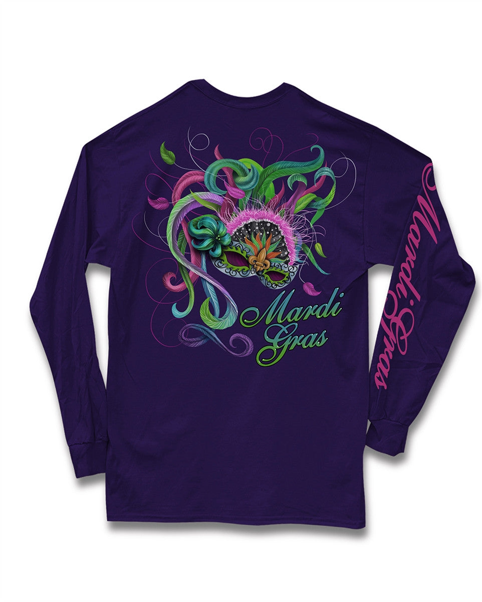 Sweet Thing Mardi Gras Feather Mask Fleur De Lis Beads Purple Girlie Long Sleeve Bright T-Shirt - SimplyCuteTees