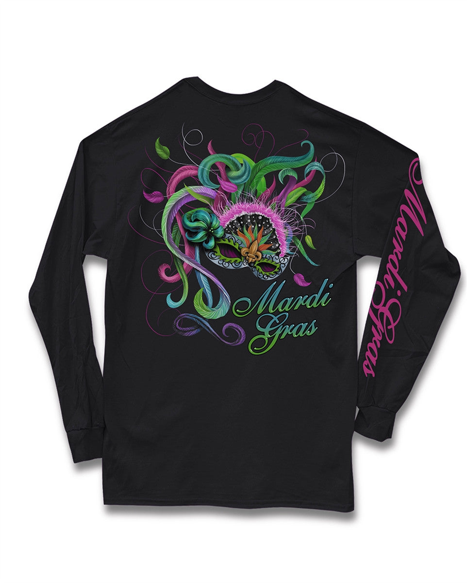 Sweet Thing Mardi Gras Feather Mask Fleur De Lis Beads Girlie Long Sleeve Bright T-Shirt - SimplyCuteTees