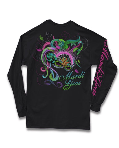 Sweet Thing Mardi Gras Feather Mask Fleur De Lis Beads Girlie Long Sleeve Bright T-Shirt