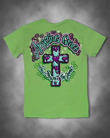 Sweet Thing Amazing Grace Cross Christian Green Girlie Bright T Shirt