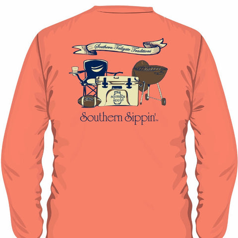 Southern Sippin Football Tailgate Pigment Dyed Unisex Pocket Long Sleeve T-Shirt - SimplyCuteTees