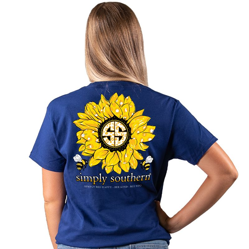 """Bee You/"""" Sunflowers in Midnight Blue Youth Simply Southern /""""Bee Happy Bee Kind"""