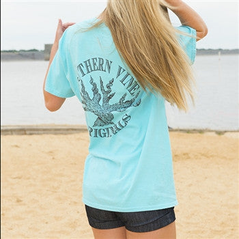 Southern Vine Originals Roots Run Deep Tree Authentic Circle Unisex Lagoon Bright Pocket T Shirt