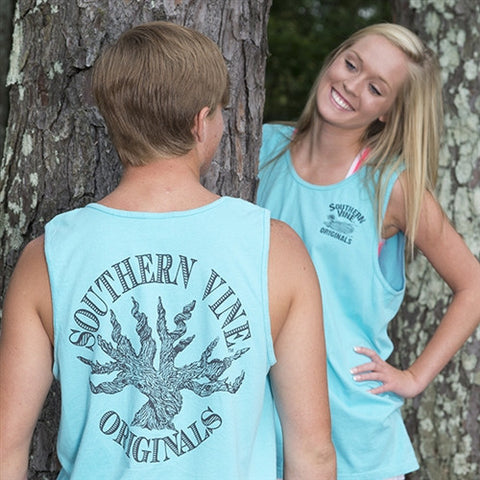 Southern Vine Originals Roots Run Deep Tree Authentic Circle Unisex Lagoon Bright Tank Top Shirt