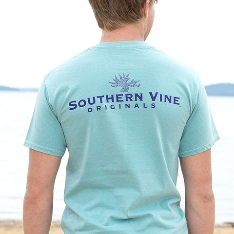 Southern Vine Originals Tree Roots Logo Unisex Seafoam Bright Pocket T Shirt