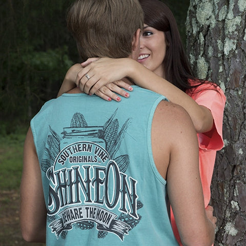 Southern Vine Originals Shine On Mason Jar Beware of the Moon Moonshine Unisex Seafoam Bright Tank Top Shirt