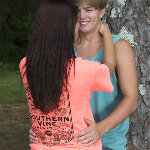 Southern Vine Originals Flagship Roots Run Deep Tree Authentic Unisex Neon Red Orange Bright T Shirt - SimplyCuteTees