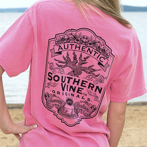 Southern Vine Originals Flagship Roots Run Deep Tree Authentic Unisex Berry  Bright T Shirt