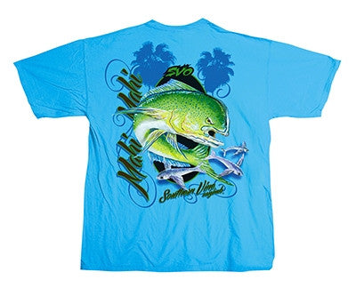Southern Vine Originals Mahi Mahi Fish Unisex Blue Bright Pocket T Shirt
