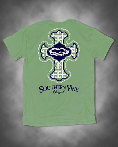 Southern Vine Originals Preppy Cross Pattern Lord's Prayer  Christian Unisex Bright T-Shirt
