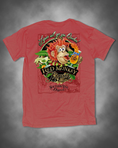 Southern Vine Originals Funny Liquor Quicker Red Monkey Unisex Salmon Bright T-Shirt - SimplyCuteTees