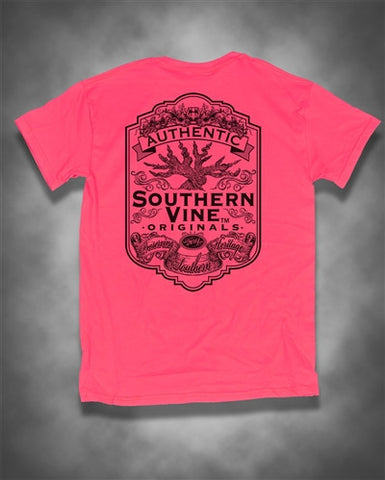 Southern Vine Originals Flagship Roots Run Deep Tree Safety Pink Bright T Shirt