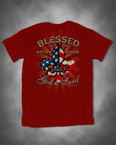 Southern Vine Originals USA American Flag Fleur De Lis Blessed Nation Bright T Shirt - SimplyCuteTees