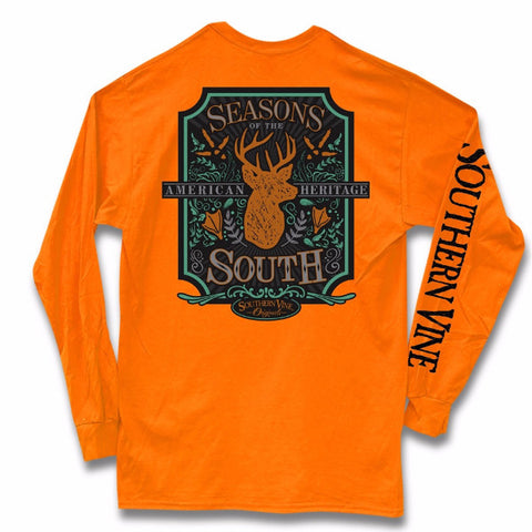 Southern Vine Seasons Of The South Deer Hunting Orange Long Sleeve T-Shirt