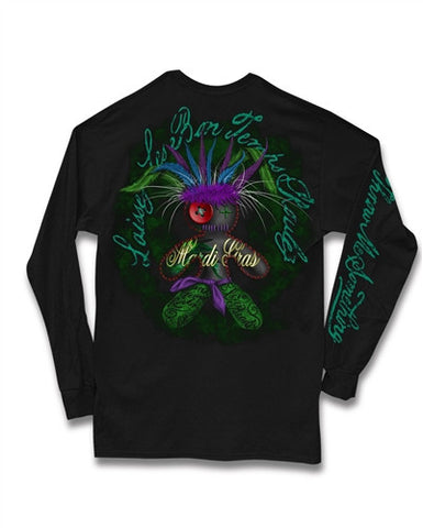 Southern Vine Mardi Gras Vodoo Doll Beads Long Sleeve Girlie Bright T-Shirt