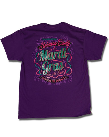Southern Vine Mardi Gras Behaving Badly Give Me Beads Girlie Bright T-Shirt