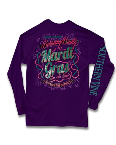 Southern Vine Mardi Gras Behaving Badly Give Me Beads Girlie Long Sleeve Bright T-Shirt