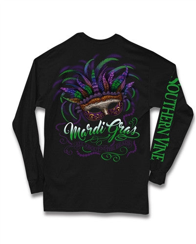 Southern Vine Mardi Gras All About the Beads Long Sleeve Girlie Bright T-Shirt - SimplyCuteTees