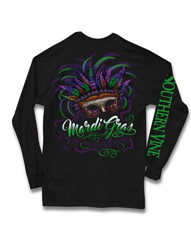 Southern Vine Mardi Gras All About the Beads Long Sleeve Girlie Bright T-Shirt