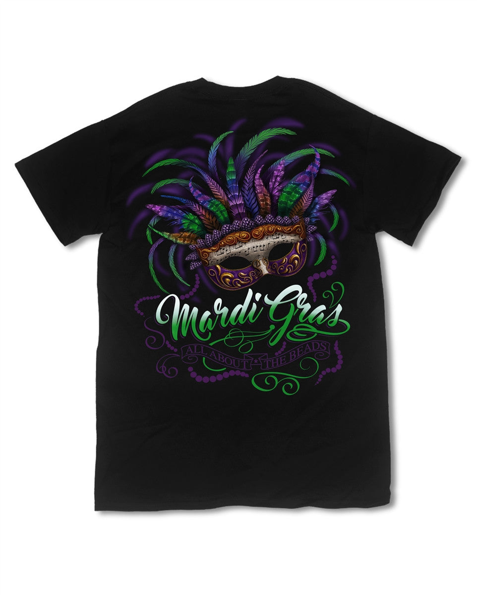 Southern Vine Mardi Gras All About the Beads Girlie Bright T-Shirt - SimplyCuteTees